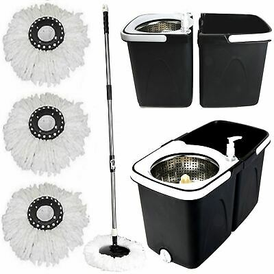 Black Space Saving 360° Rotating Dual Spin Dry Mop & Bucket 3 Microfibre Heads