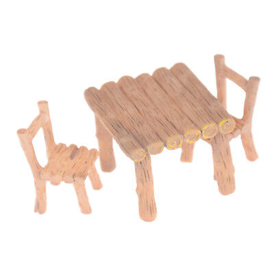 3Pcs/Set Wooden Table Chairs Dollhouse Miniatures Doll Accessorie_WK