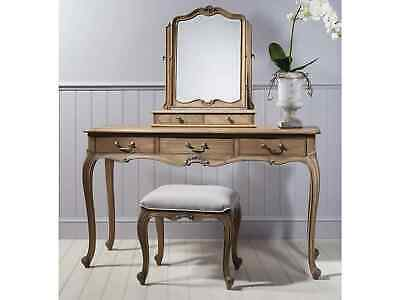 Frank Hudson French Style Chic Weathered Dressing Table Set (Table, Stool, Mi...