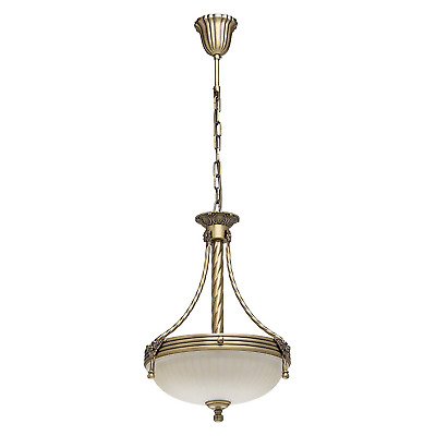MW-Light 317010303 Pendant Ceiling Light Metal Bronze White Matt Glass Classic 3