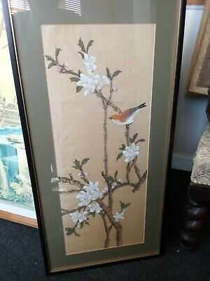 Hand Painted Chinese Bird Silk Large Framed And Glazed c1900