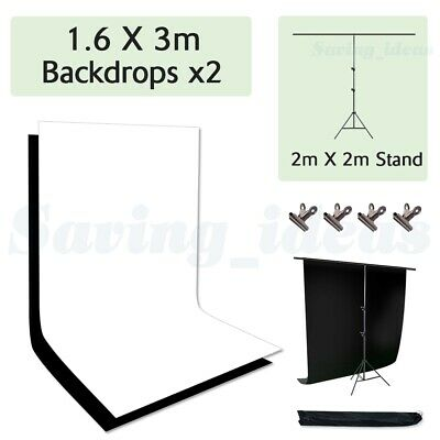 Photo T Type Background Support Stand + Screen 1.6x3m Black White Backdrop Kit