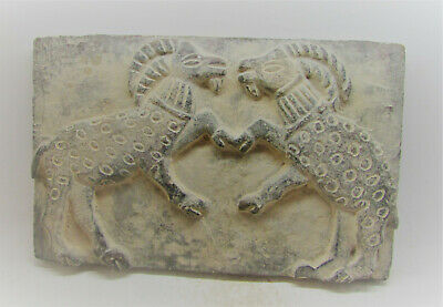 Circa 3000-2000Bce Ancient Near Eastern Stone Brick Battling Rams Scene Rare
