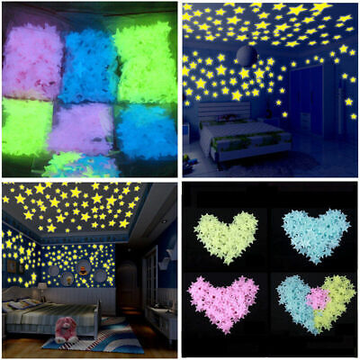 Glow In The Dark Stars Wall Sticker Kids Nursery Bedroom Room Ceiling Decor Iy
