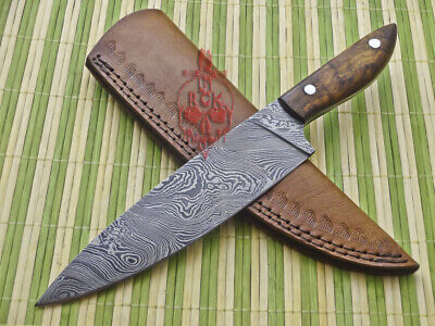 "12"" Stunning Custom Made Damascus Steel Full Tang, Chef Knife, Rose Wood Handle"
