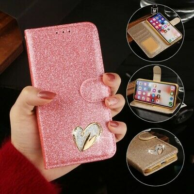 For iPhone 7 Plus 6s X Bling Leather Stand Flip Case Magnetic Card Holder Cover