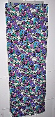 Rose Daisy Fabric Vtg 80s Cotton Blue Purple Pink 2 yds Quilting