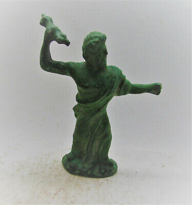 Extremely Rare Ancient Roman Bronze Statuette Of Zues With Lightening Bolt