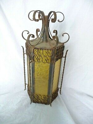 """Vintage Huge 1960s70s 6 Sided  Wrought Iron Lantern coloured Panels Project 23"""""""