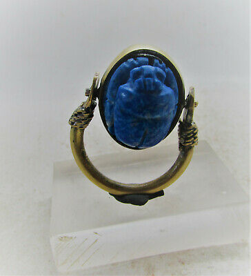 Superb Ancient Egyptian Gold Gilded Swivel Ring With Lapis Lazuli Scarab Inset