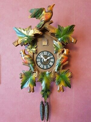 Antique Black Forest Colorful Bird Nest Cuckoo Clock in perfect condition