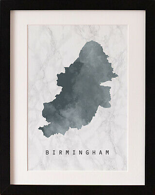 FRAMED Birmingham Map Print, Marble Watercolour Wall Art, FAB PICTURE GIFT