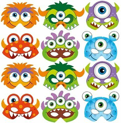 Colourful Childrens Masks Party Bag Fillers 12 Card Farm Animal Face Masks