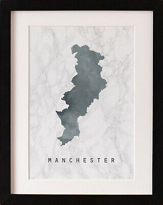 FRAMED Manchester Map Print, Marble Watercolour Wall Art, PICTURE GIFT