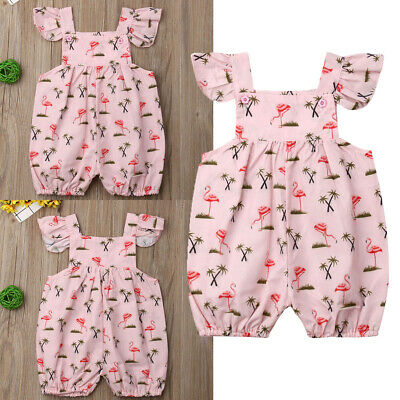 AU Infant Baby Girl Flamingo Romper Bodysuit Outfits Jumpsuit Casual Clothes