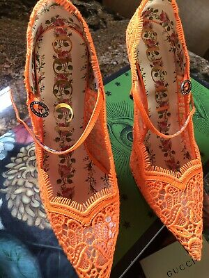 9e60f8d243f NEW GUCCI VIRGINIA Cotton Lace Mary Jane Heels Size 40.5 Us 10.5