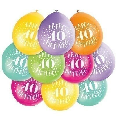 """10 HAPPY 40th BIRTHDAY 9"""" COLOURS Latex Balloons Party Decoration Air Fill"""