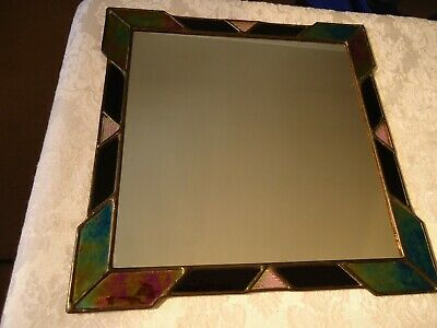 Amingo Stained Glass Mirror Art Deco  11 X 11 Inches Artist Henry Palczewski