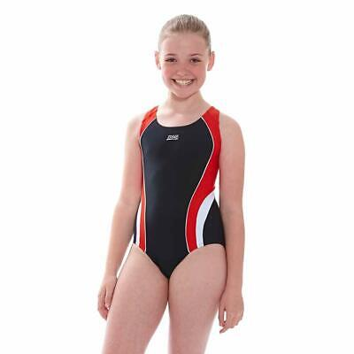 Zoggs Girls Noosa Flyback Swimming Costume Black/Red/White Chlorine Resistant 6-