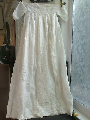 Long Antique Christening Gown Broderie Anglaise Detail to the Front 100cm Long