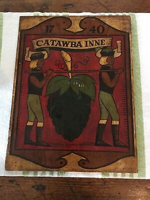 Vintage Hand Painted Wooden Catawba Inne Sign Folk Art
