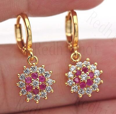 18K Gold Filled Earrings Big Sunflower Red Beads Topaz Ruby Gems Dangle Lady BR