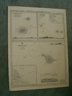 Vintage Admiralty Chart 802 ISLANDS IN THE INDIAN OCEAN 1965 edn