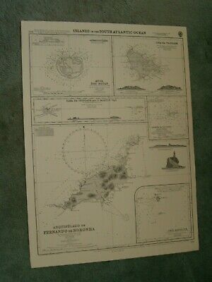 Vintage Admiralty Chart 388 ISLANDS IN THE SOUTH ATLANTIC OCEAN 1961 edn