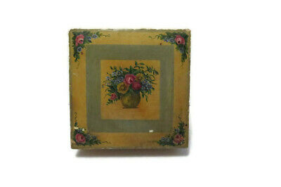 """VTG Wooden Box Rose Floral Painted Hinged Lid Shabby Distressed 8.4"""" Square"""
