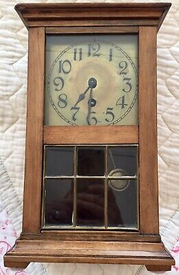 Antique Small Brass Face Mantle Clock With Glass & Brass Sectional Door