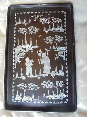 oriental black wooden tray with mother of pearl inlay