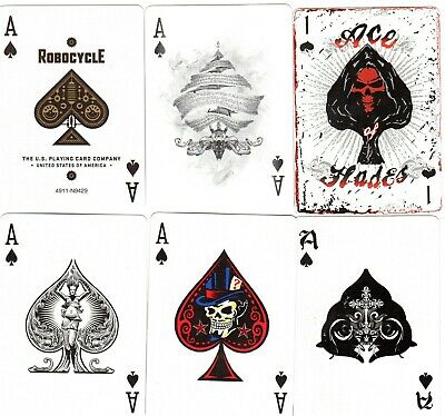 """6 x RARE MINT """"Ace of Spades From Bicycle & Similar Packs"""" SINGLE Playing Cards"""