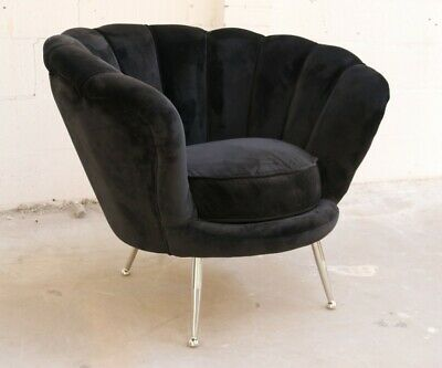 Butterfly Black Scalloped Velvet Lounge Office Bedroom Accent Tub Chair Modern