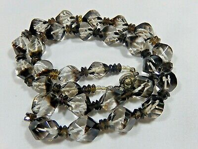 """Rare Art Deco Japan Genuine Rock Crystal Bead Shaded Clear To Smoky 21"""" Necklace"""