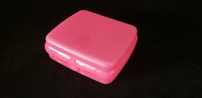 FREE SHIP Tupperware Sandwich Keeper lunch bagels wraps hinge save NEW Pink