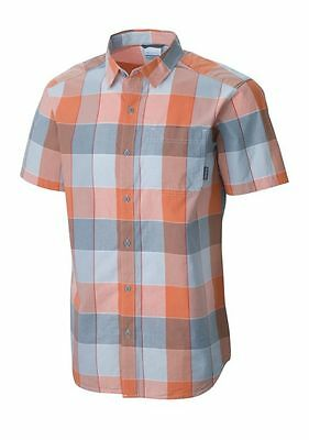 Columbia Men/'s M NWT$45 Thompson Hill II Pink Check Plaid Cotton Pocket Shirt