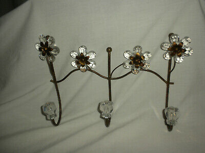 "Shabby Chic Style BRONZE Metal 12"" Wide Wall COAT/HAT  Hanger w/Clear Flowers &"
