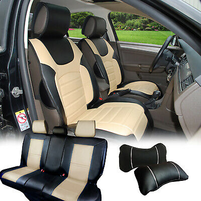 Rear Compatible to Chrysler 53 Bk//Tan Car Seat Covers PU Leather Front