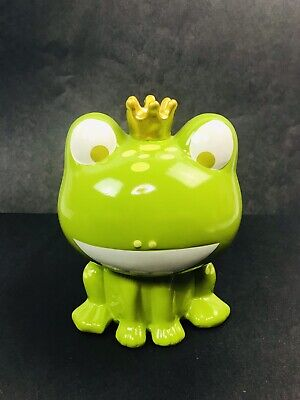 Adorable Frog Prince Green Ceramic Piggy Bank Coin Bank