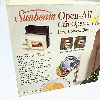Vintage 1985 Sunbeam Open All Under Cabinet Electric Can Opener 05246 Almond