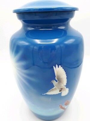Adult Aluminum Cremation Urn for Ashes - Blue with beautiful White Dove
