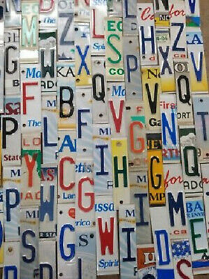 Vintage License Plate Letters and Numbers for Rustic Signs Arts Crafts Man Cave