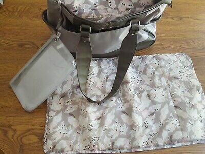 EUC Eddie Bauer Diaper Bag Beige Tan Pink Birds Pockets Changing Pad