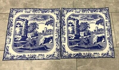 "SPODE Blue Italian Napkins Set Of 2 Vintage ~15"" Square England"