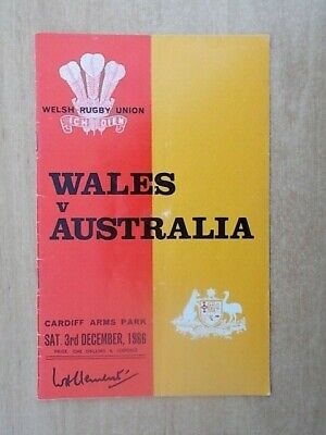 WALES v AUSTRALIA - CARDIFF ARMS PARK - OFFICIAL RUGBY UNION PROGRAMME 1966