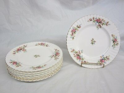 Lot of 8 Royal Albert Moss Rose Dinner Plates 10 and 1/4 inches across Mint