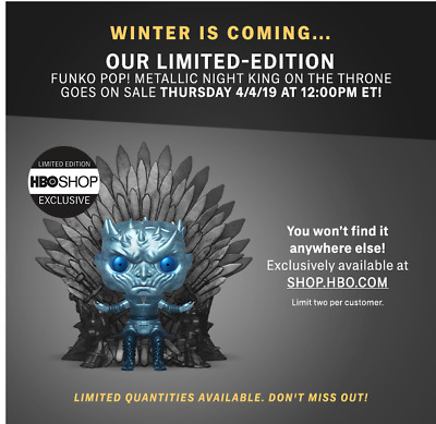 #74 METALLIC NIGHT KING ON THRONE  Funko Pop Game Of Thrones HBO Exclusive
