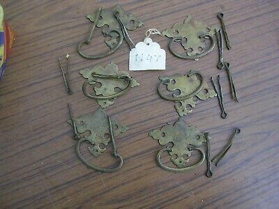 Set Of Six Antique Brass Drawer Handles (N47)