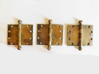 "4"" Antique Bronze Yale Butt Hinges Ball Tips, 3 Very Heavy Hinges, Circa 1900"