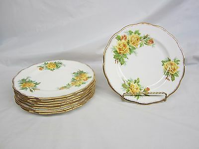 Lot of 8  Royal Albert Yellow Tea Rose Lunch or Salad Plates 8 and 1/8 inches